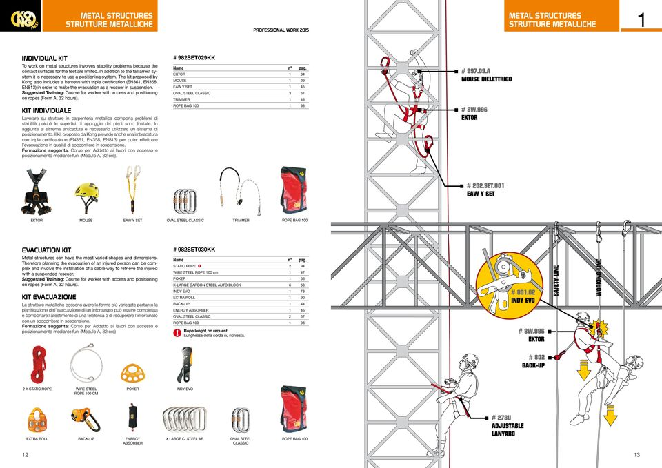 The kit proposed by Kon also includes a harness with triple certification (EN361, EN358, EN813) in order to make the evacuation as a rescuer in suspension.