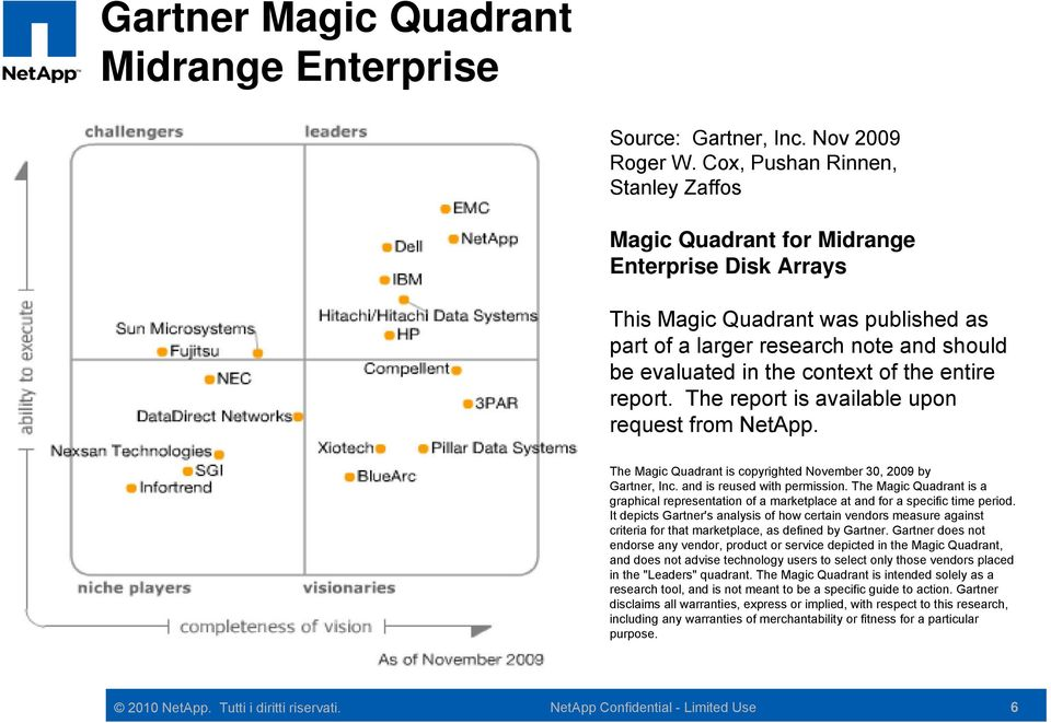 entire report. The report is available upon request from NetApp. The Magic Quadrant is copyrighted November 30, 2009 by Gartner, Inc. and is reused with permission.
