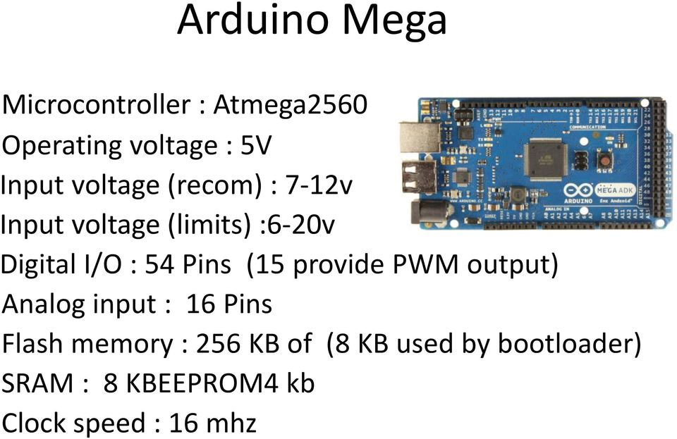 Pins (15 provide PWM output) Analog input : 16 Pins Flash memory : 256
