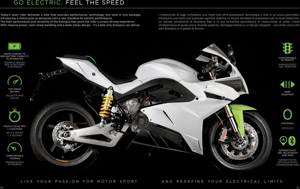 With massive power, razor-sharp handling and a sleek Italian design - it s a bike only Energica can deliver.