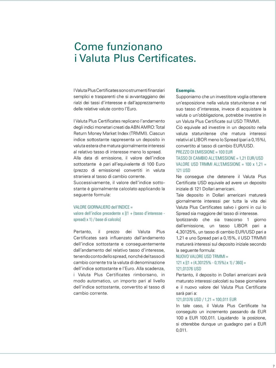 I Valuta Plus Certificates replicano l andamento degli indici monetari creati da ABN AMRO: Total Return Money Market (TRMMI).