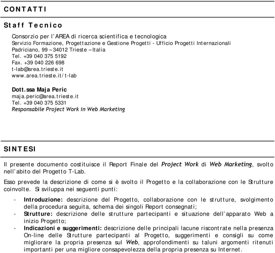 +39 040 375 5331 Responsabile Project Work in Web Marketing SINTESI Il presente documento costituisce il Report Finale del Project Work di Web Marketing, svolto nell abito del Progetto T-Lab.