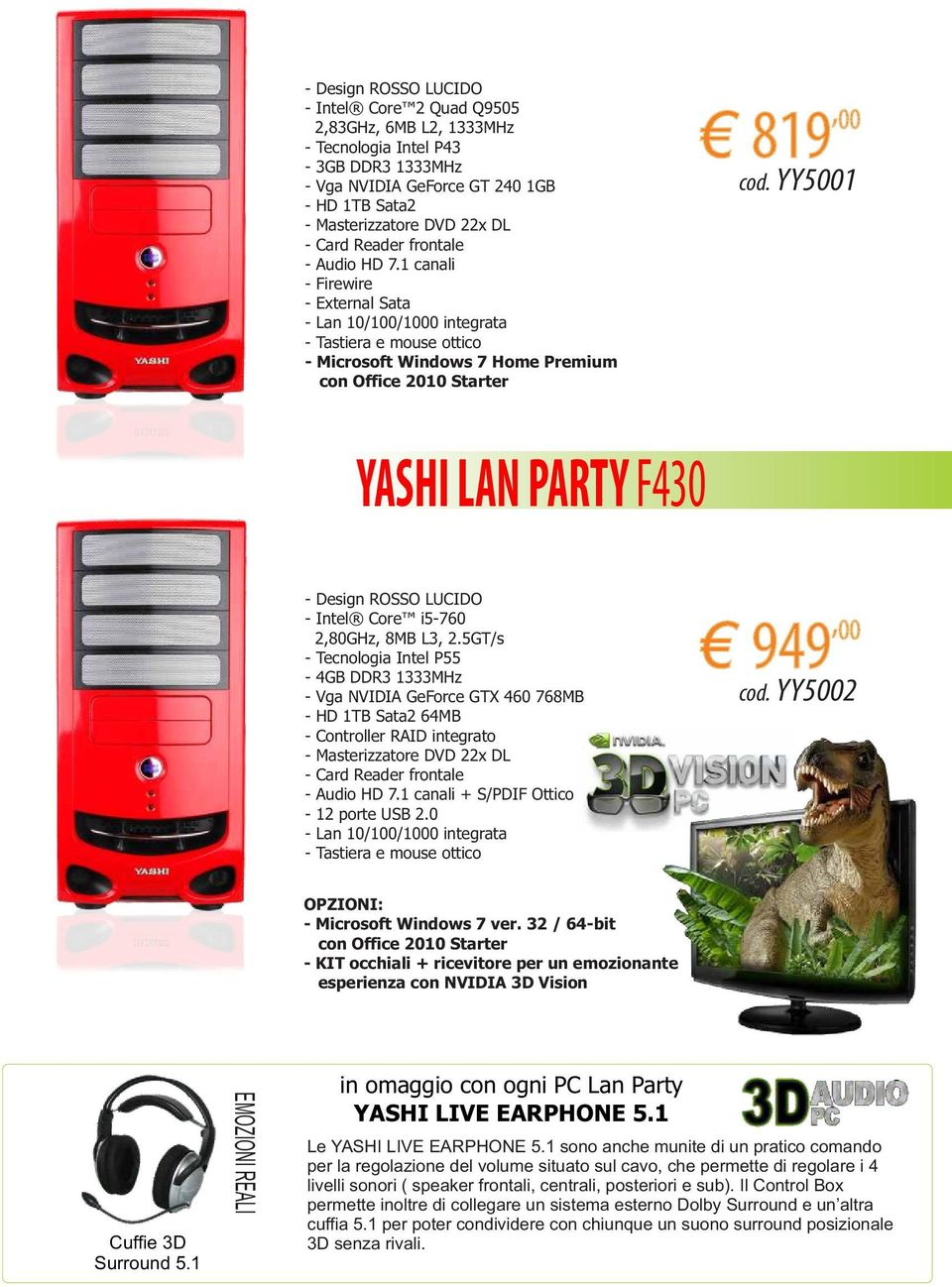 YY5001 YASHI LAN PARTY F430 - Design ROSSO LUCIDO - Intel Core i5-760 2,80GHz, 8MB L3, 2.
