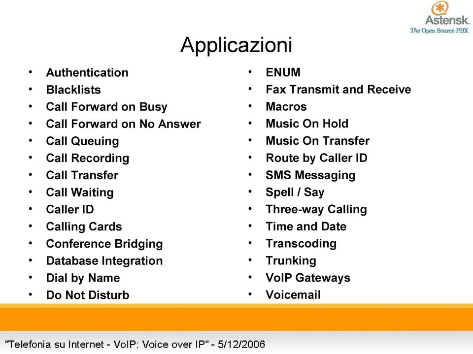 Not Disturb Applicazioni ENUM Fax Transmit and Receive Macros Music On Hold Music On Transfer Route by