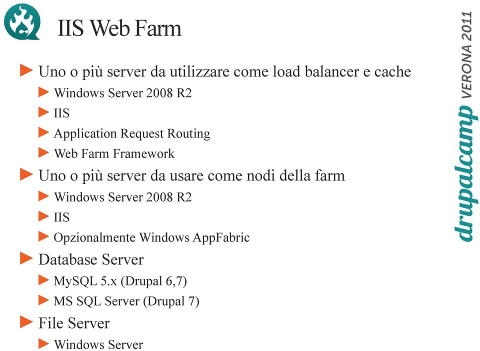 come nodi della farm Windows Server 2008 R2 IIS Opzionalmente Windows AppFabric