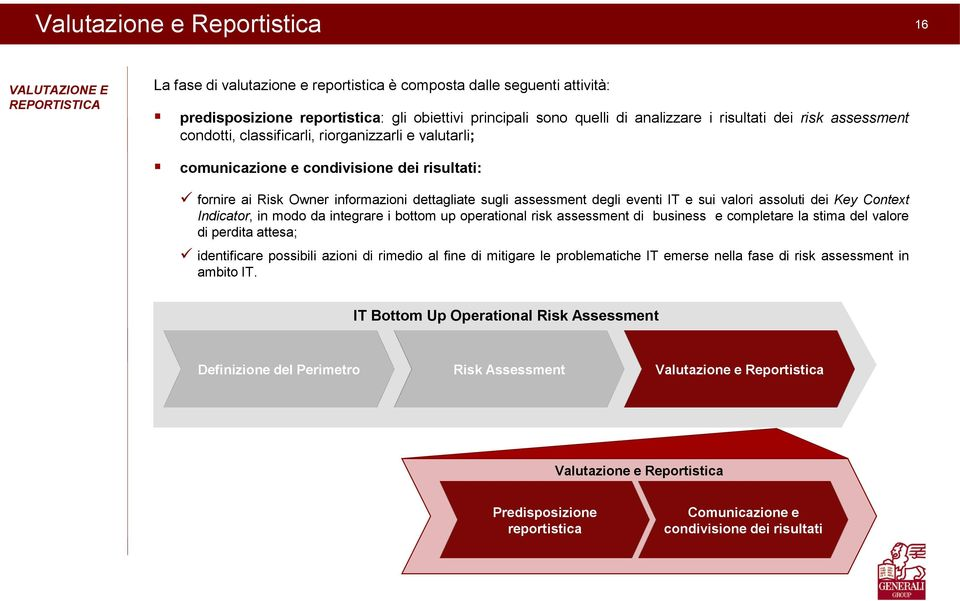 assessment degli eventi IT e sui valori assoluti dei Key Context Indicator, in modo da integrare i bottom up operational risk assessment di business e completare la stima del valore di perdita