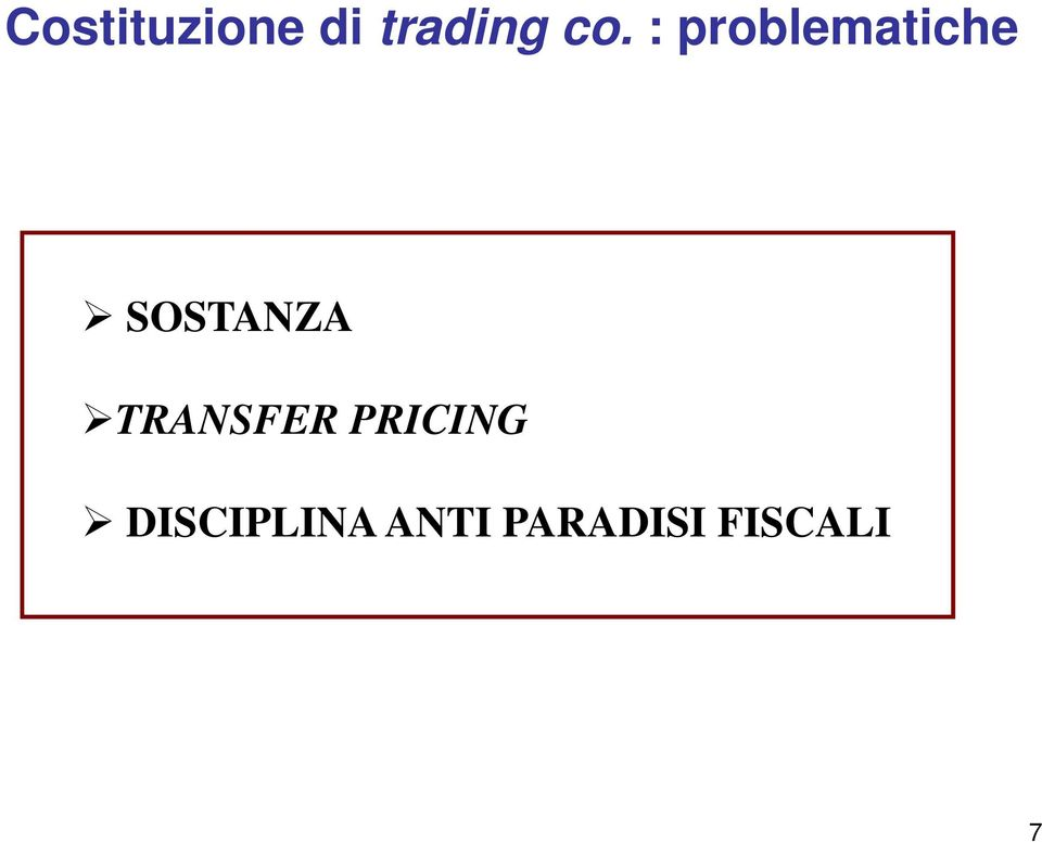 SOSTANZA TRANSFER PRICING