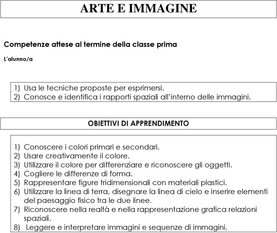 4) Cogliere le differenze di forma. 5) Rappresentare figure tridimensionali con materiali plastici.