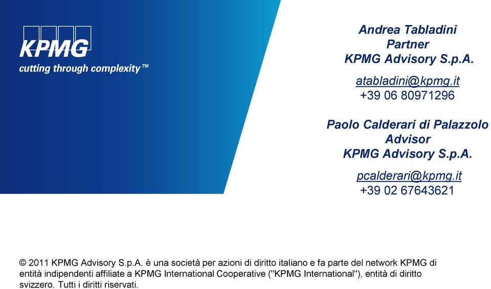 it +39 02 67643621 2011 KPMG Ad