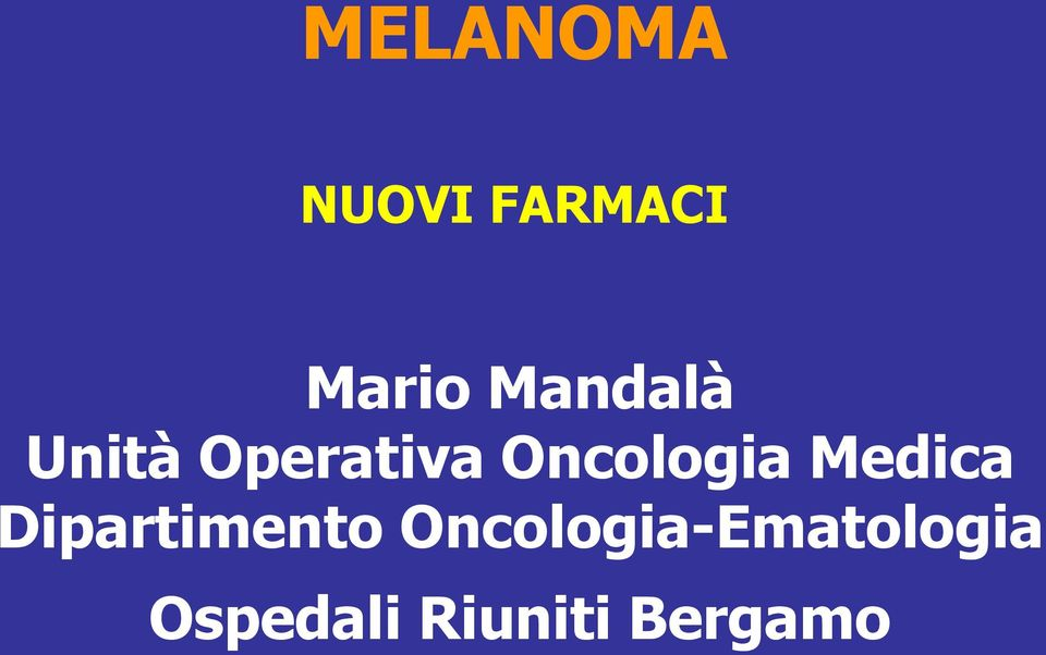 Oncologia Medica Dipartimento