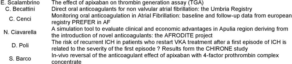 Ciavarella A simulation tool to evaluate clinical and economic advantages in Apulia region deriving from the introduction of novel anticoagulants: the AFRODITE project D.
