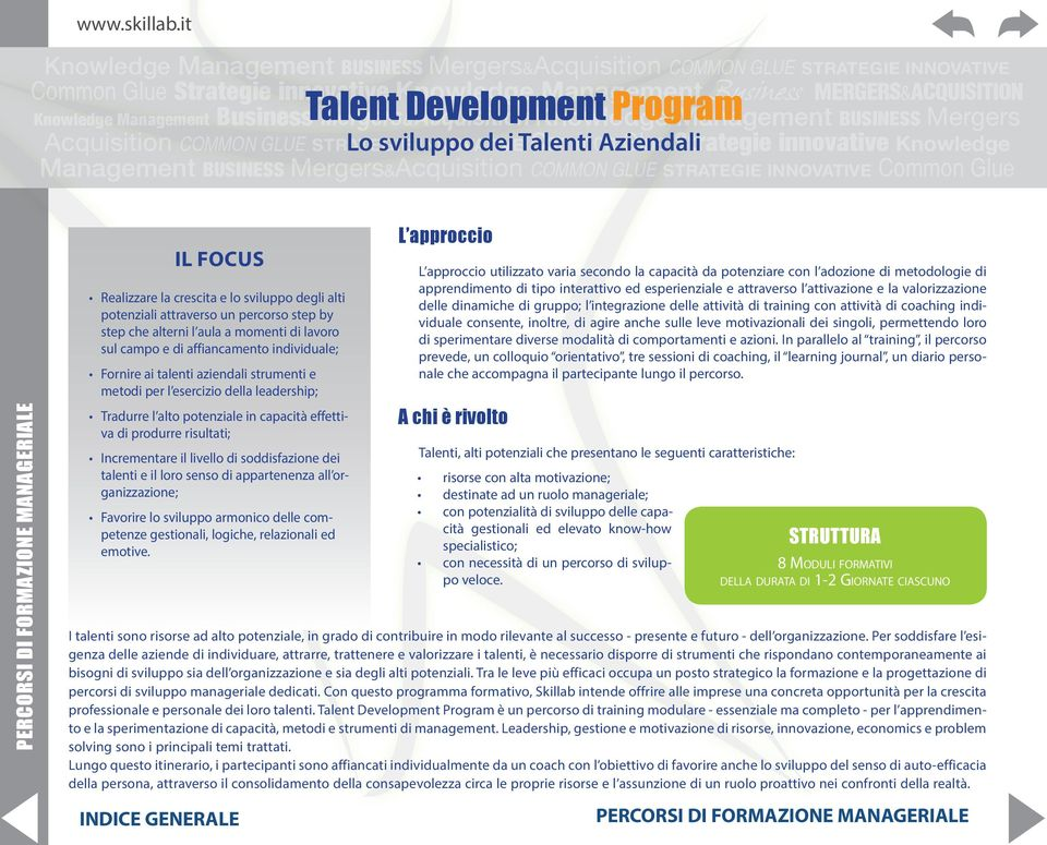 Talent Mergers&Acquisition Development Knowledge Program Management BUSINESS Mergers Acquisition COMMON GLUE STRATEGIE Lo sviluppo INNOVATIVE dei Talenti Common Aziendali Glue Strategie innovative