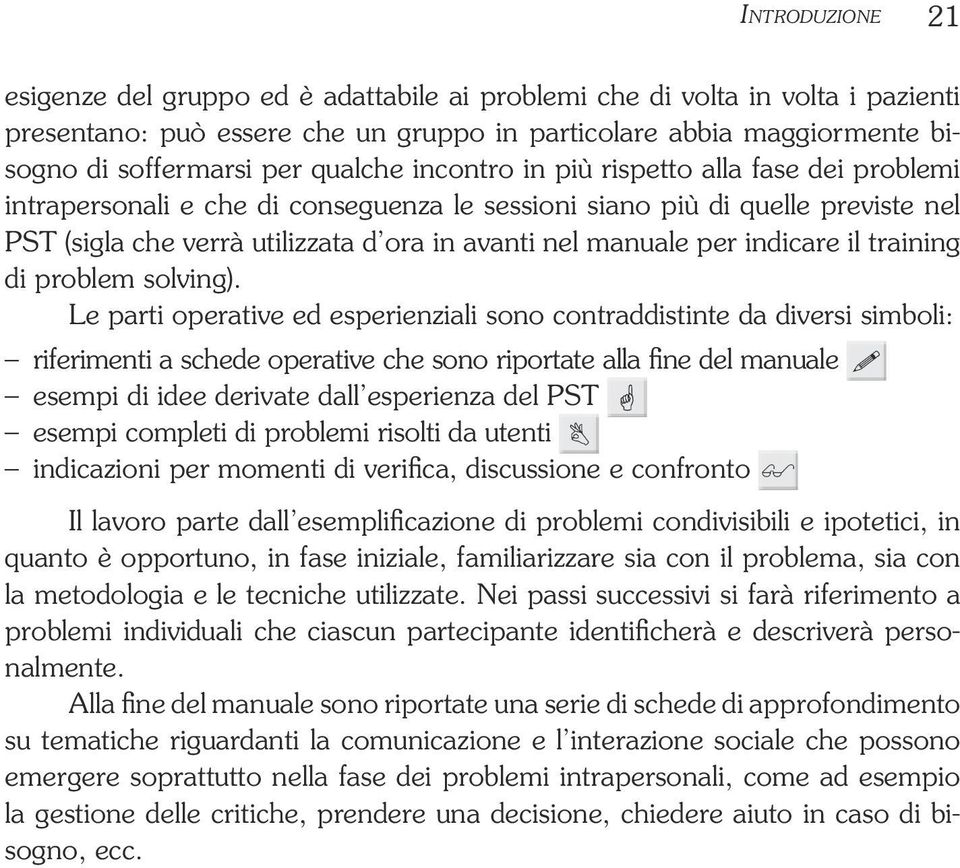 manuale per indicare il training di problem solving).