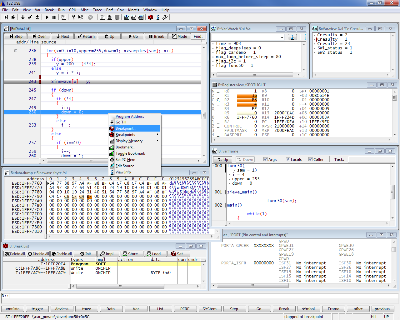 12 / 52 Debugging e Advanced debugging Per il normale debugging si accede alla Debug Access Port (DAP) via JTAG o SWD.