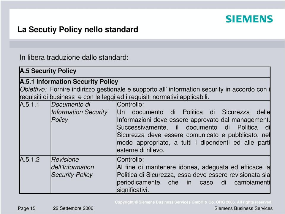 1 Information Security Policy Obiettivo: Fornire indirizzo gestionale e supporto all information security in accordo con i requisiti di business e con le leggi ed i requisiti normativi applicabili. A.