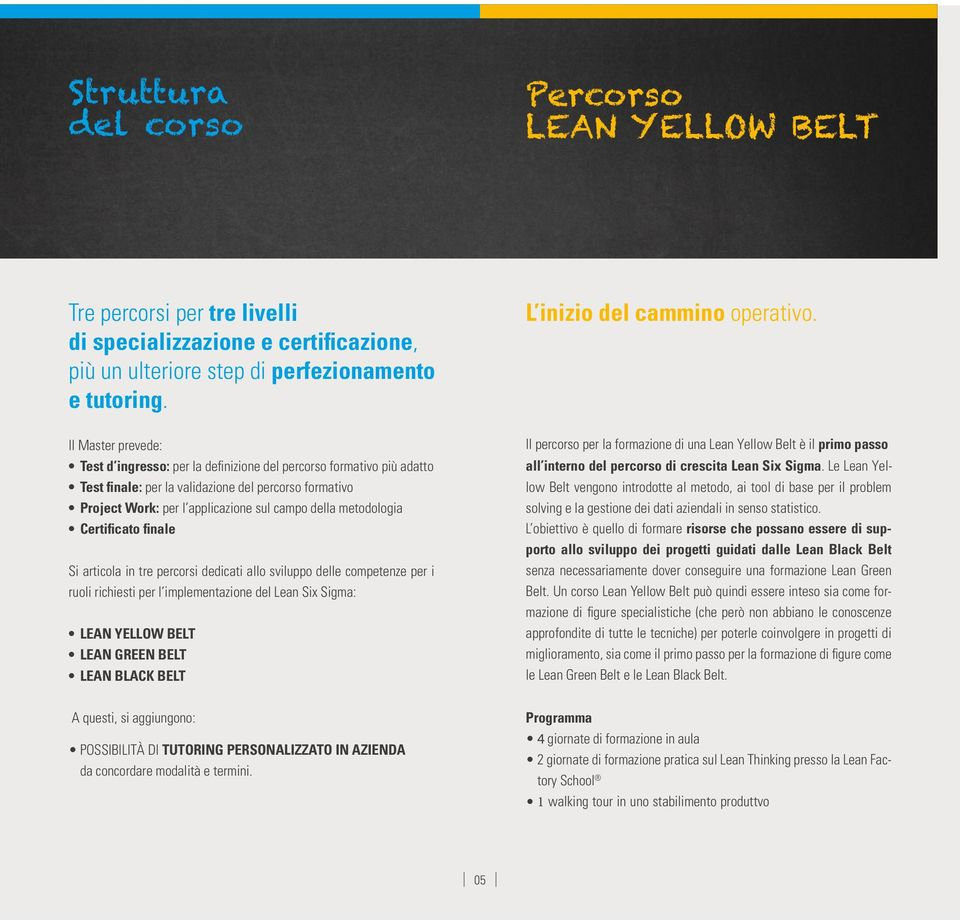 metodologia Certificato finale Si articola in tre percorsi dedicati allo sviluppo delle competenze per i ruoli richiesti per l implementazione del Lean Six Sigma: LEAN YELLOW BELT LEAN GREEN BELT