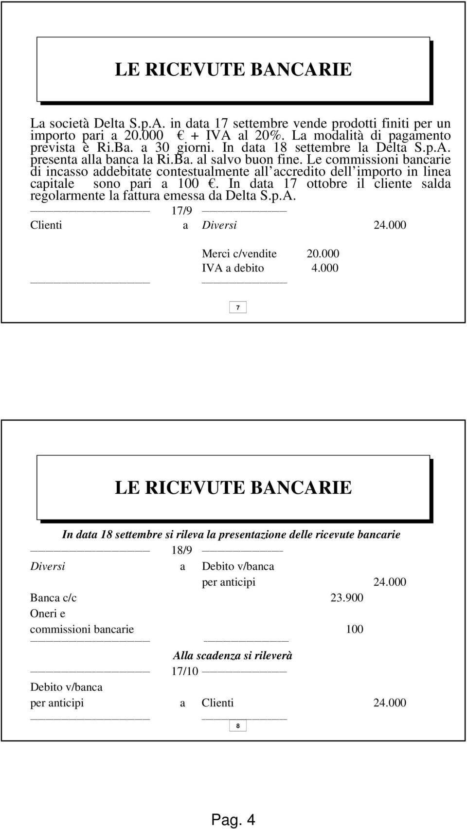 Le commissioni bancarie di incasso addebitate contestualmente all accredito dell importo in linea capitale sono pari a 100.