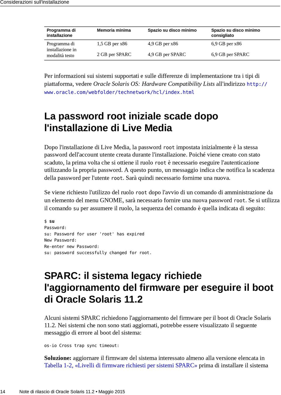 Solaris OS: Hardware Compatibility Lists all'indirizzo http:// www.oracle.com/webfolder/technetwork/hcl/index.