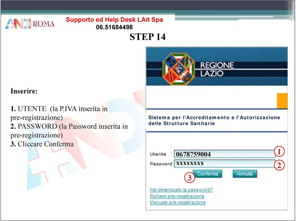 PASSWORD (la Password inserita in pre-registrazione) 3.