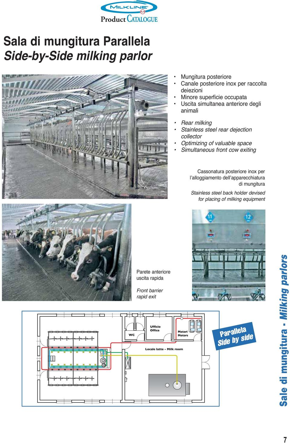 Simultaneous front cow exiting Cassonatura posteriore inox per l alloggiamento dell apparecchiatura di mungitura Stainless steel back holder