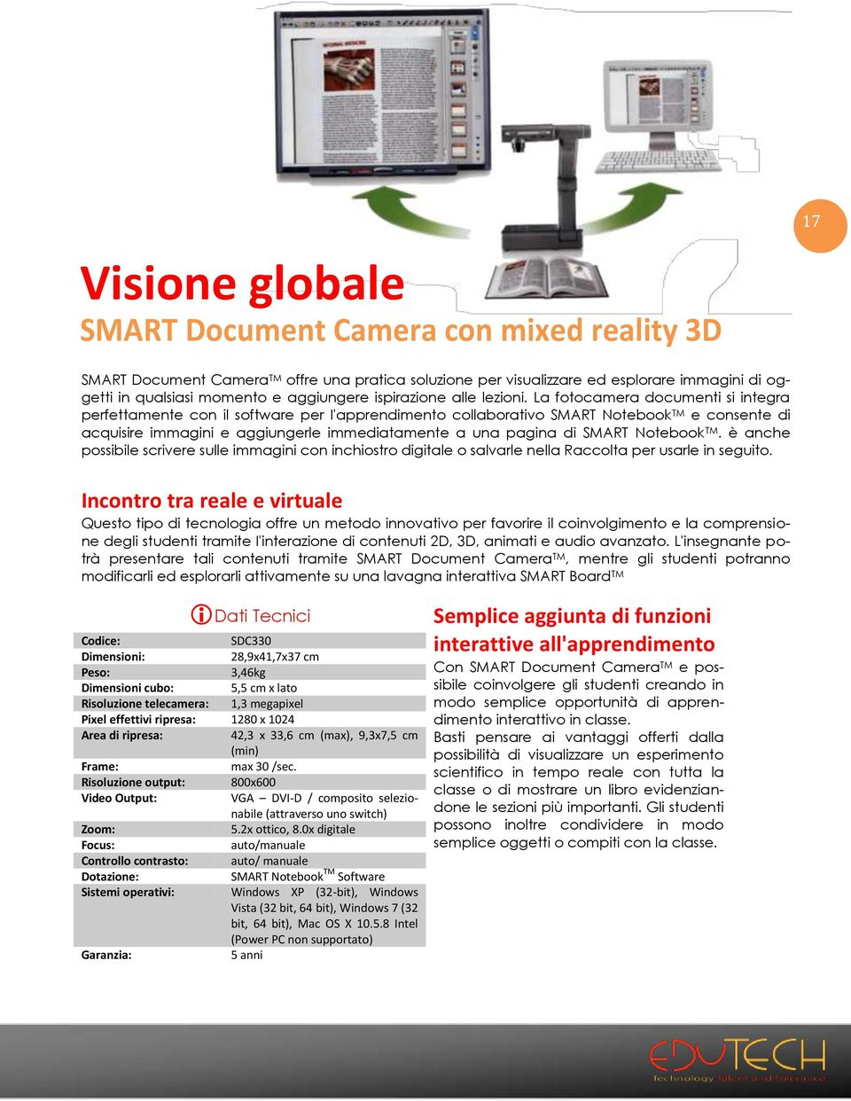 La fotocamera documenti si integra perfettamente con il software per I'apprendimento collaborativo SMART Notebook TM e consente di acquisire immagini e aggiungerle immediatamente a una pagina di