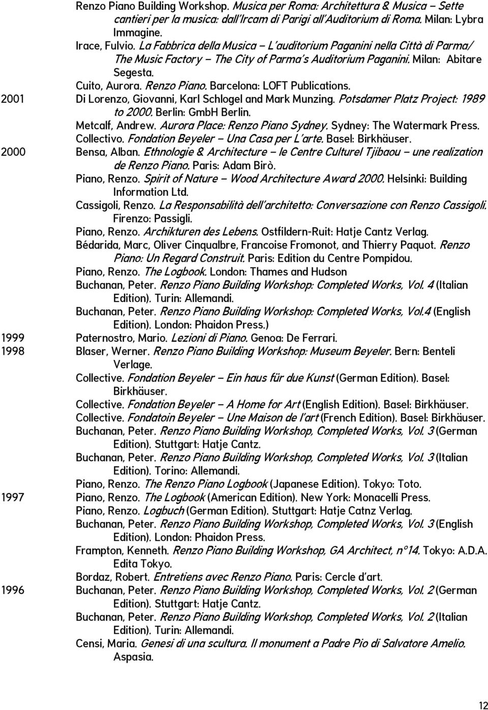 Barcelona: LOFT Publications. 2001 Di Lorenzo, Giovanni, Karl Schlogel and Mark Munzing. Potsdamer Platz Project: 1989 to 2000. Berlin: GmbH Berlin. Metcalf, Andrew. Aurora Place: Renzo Piano Sydney.