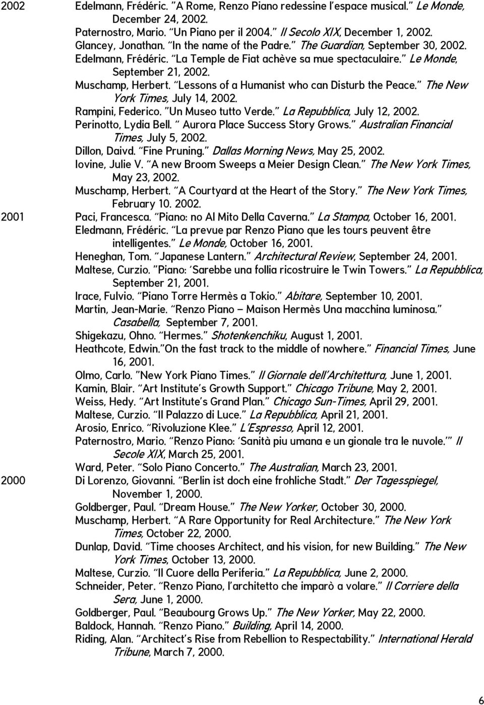 Lessons of a Humanist who can Disturb the Peace. The New York Times, July 14, 2002. Rampini, Federico. Un Museo tutto Verde. La Repubblica, July 12, 2002. Perinotto, Lydia Bell.