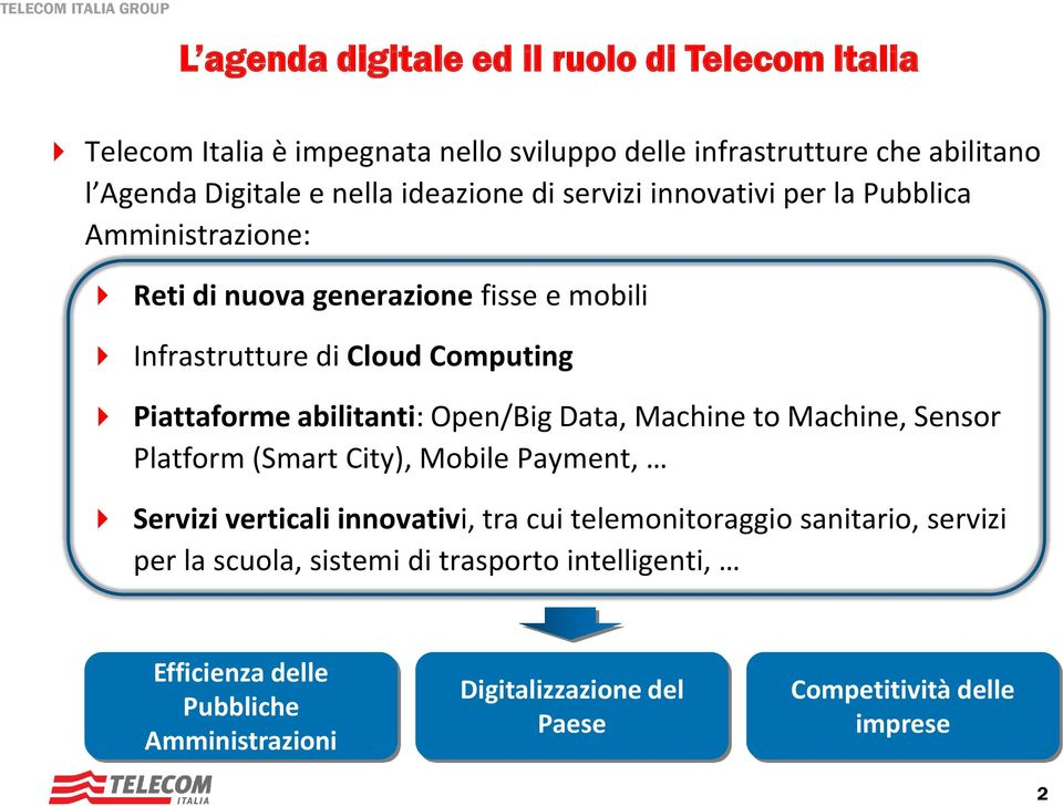 abilitanti: Open/Big Data, Machine to Machine, Sensor Platform (Smart City), Mobile Payment, Servizi verticali innovativi, tra cui telemonitoraggio