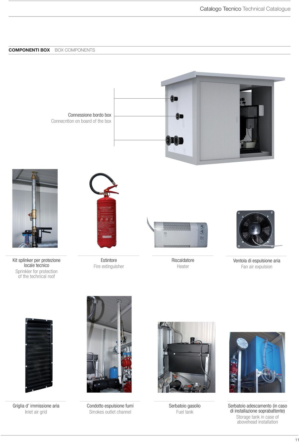 immissione aria Inlet air grid Condotto espulsione fumi Smokes outlet channel Riscaldatore Heater Serbatoio gasolio Fuel tank