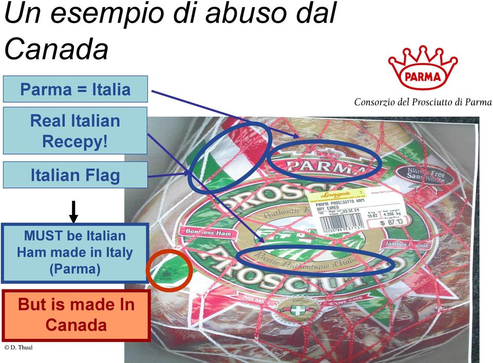 Italian Flag MUST be Italian Ham made