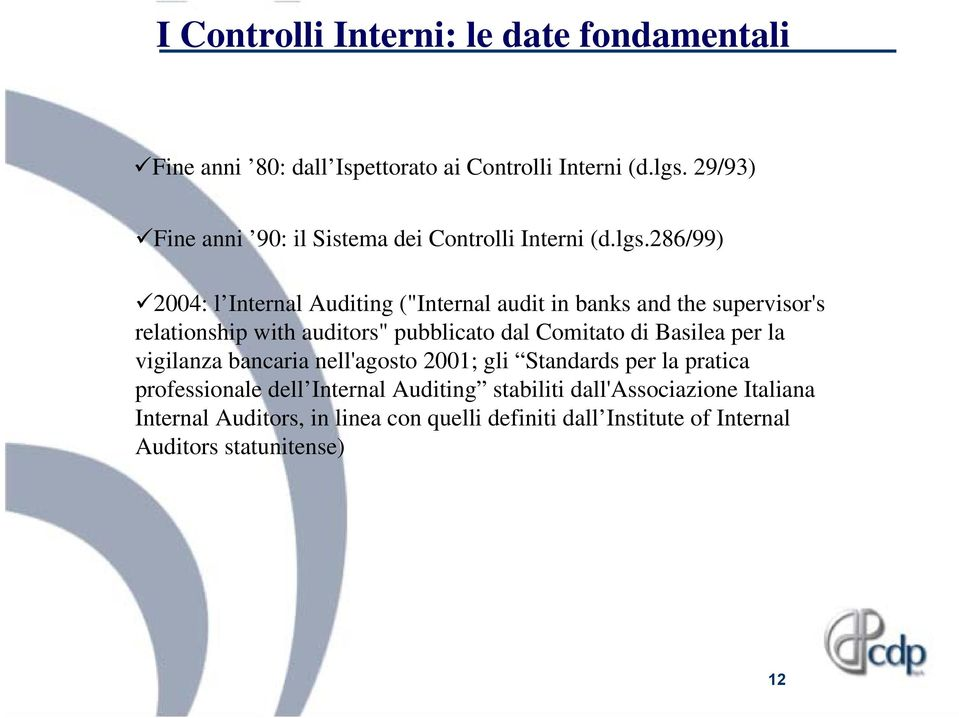 "286/99) 2004: l Internal Auditing (""Internal audit in banks and the supervisor's relationship with auditors"" pubblicato dal Comitato di"