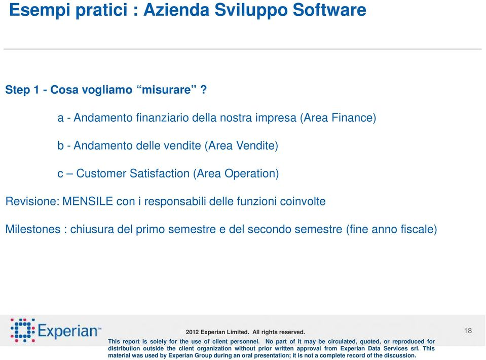 (Area Vendite) c Customer Satisfaction (Area Operation) Revisione: MENSILE con i
