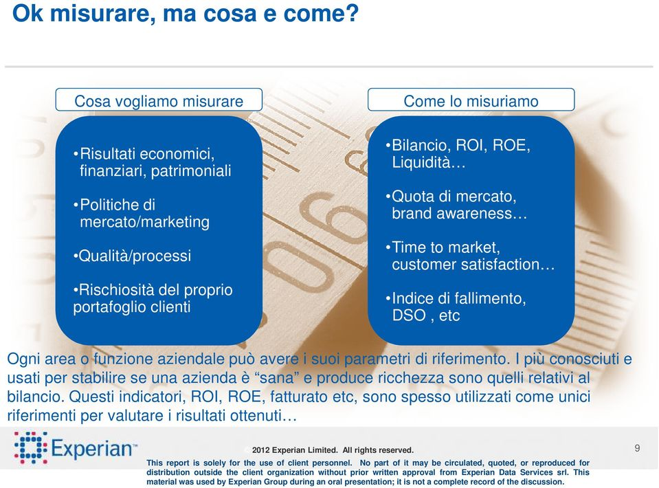 Come lo misuriamo Bilancio, ROI, ROE, Liquidità Quota di mercato, brand awareness Time to market, customer satisfaction Indice di fallimento, DSO, etc Ogni area o