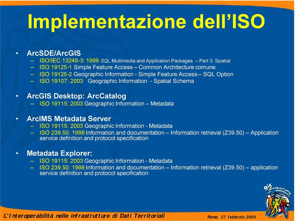 Metadata Server ISO 19115: 2003 Geographic Information - Metadata ISO 239.50: 1998 Information and documentation Information retrieval (Z39.