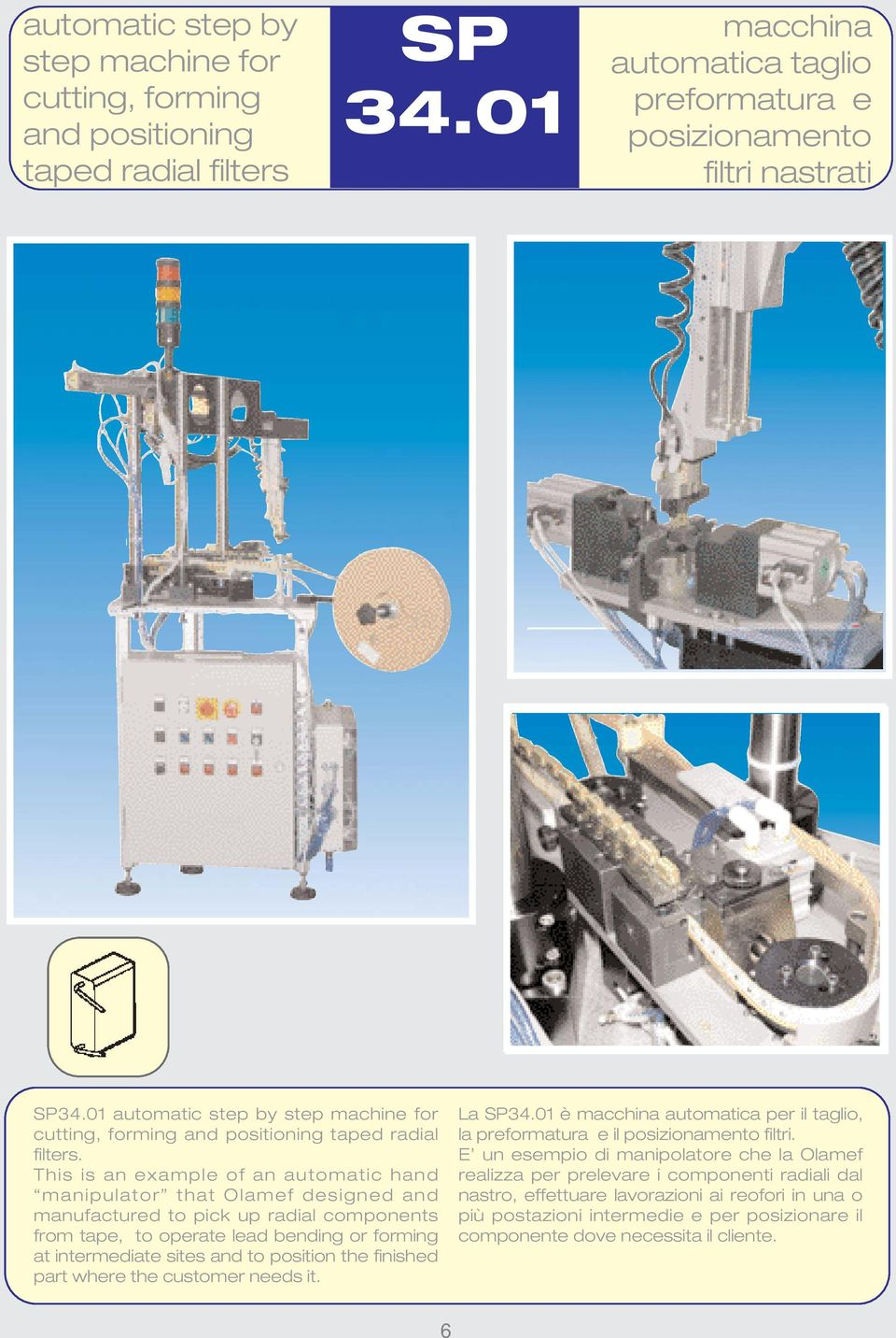 This is an example of an automatic hand manipulator that Olamef designed and manufactured to pick up radial components from tape, to operate lead bending or forming at intermediate sites and to