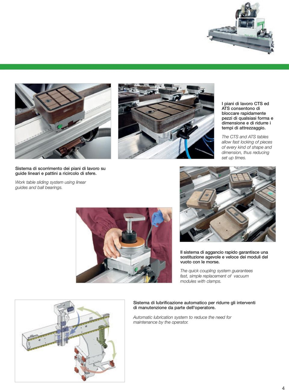 Sistema di scorrimento dei piani di lavoro su guide lineari e pattini a ricircolo di sfere. Work table sliding system using linear guides and ball bearings.