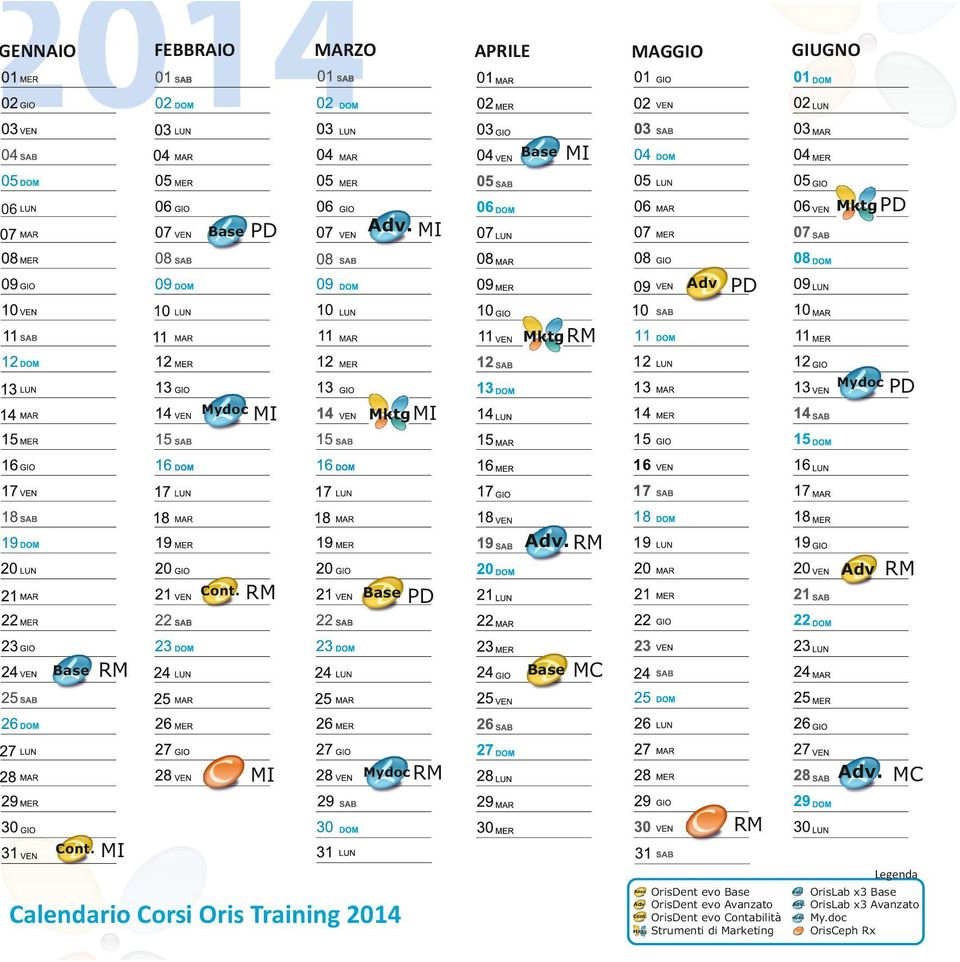 MC Legenda Calendario Corsi Oris Training 2014 Adv Mktg OrisDent evo
