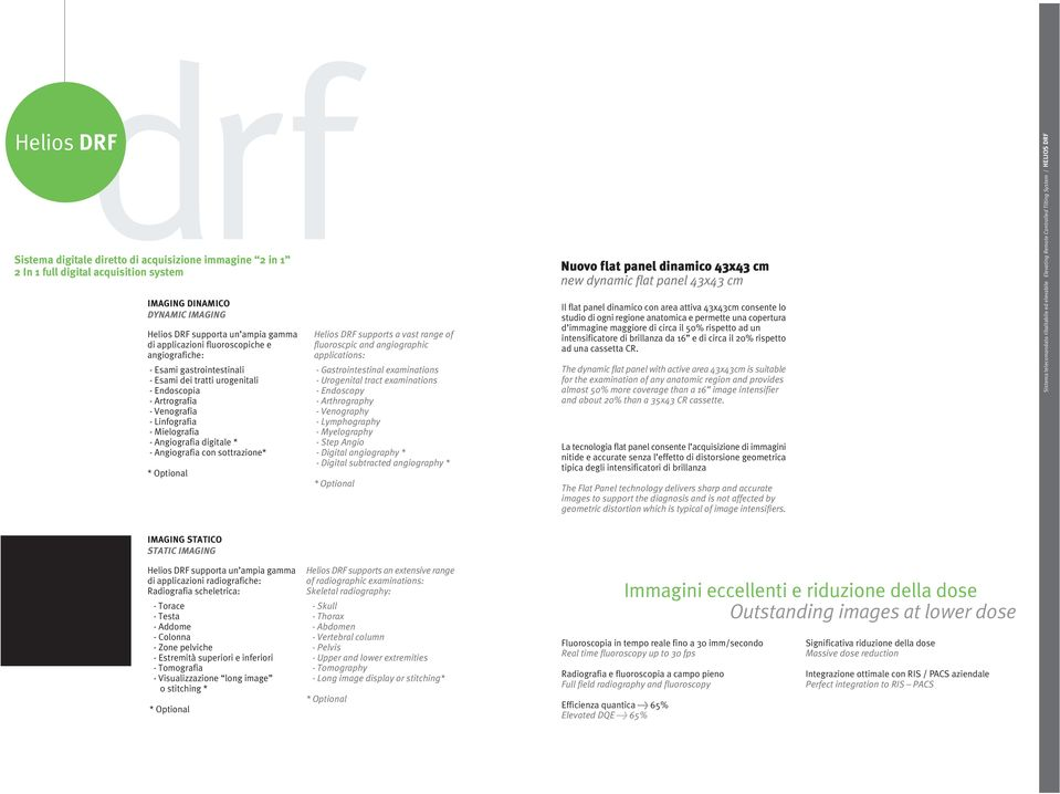 sottrazione* Helios DRF supports a vast range of fluoroscpic and angiographic applications: - Gastrointestinal examinations - Urogenital tract examinations - Endoscopy - Arthrography - Venography -