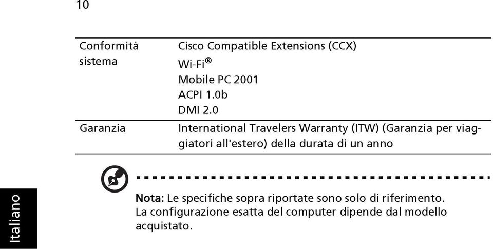 0 International Travelers Warranty (ITW) (Garanzia per viaggiatori all'estero)