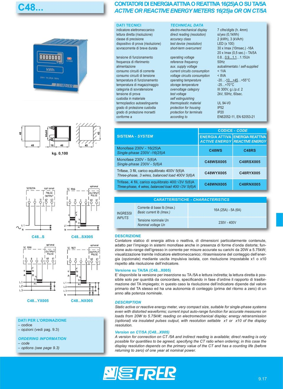 (x 100) sovracorrente di breve durata short-term overcurrent 30 x Imax (10msec.) -16A 20 x Imax (0,5 sec.) - TA/5A tensione di funzionamento operating voltage 0.8 0.9 1.1 1.