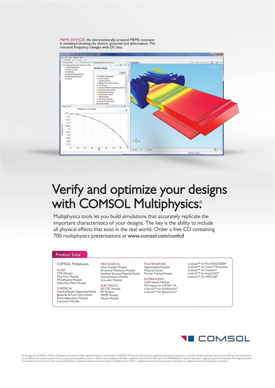The key is the ability to include all physical effects that exist in the real world. Order a free CD containing 700 multiphysics presentations at www.comsol.