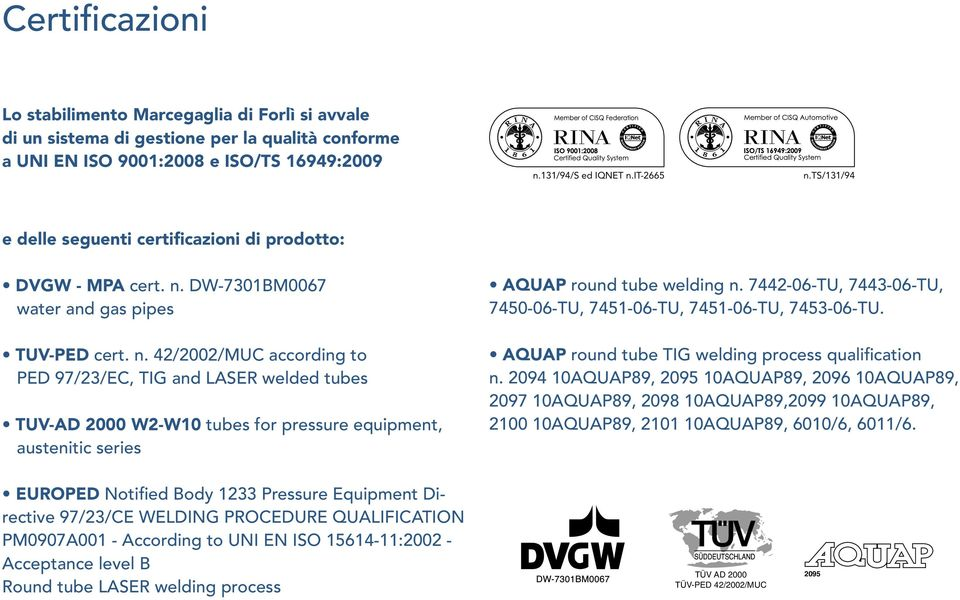 DW-7301BM0067 water and gas pipes TUV-PED cert. n.