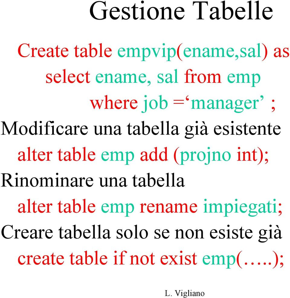 emp add (projno int); Rinominare una tabella alter table emp rename