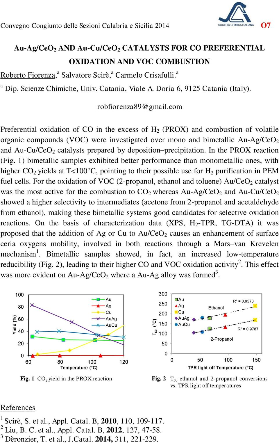 com Preferential oxidation of CO in the excess of H 2 (PROX) and combustion of volatile organic compounds (VOC) were investigated over mono and bimetallic Au-Ag/CeO 2 and Au-Cu/CeO 2 catalysts