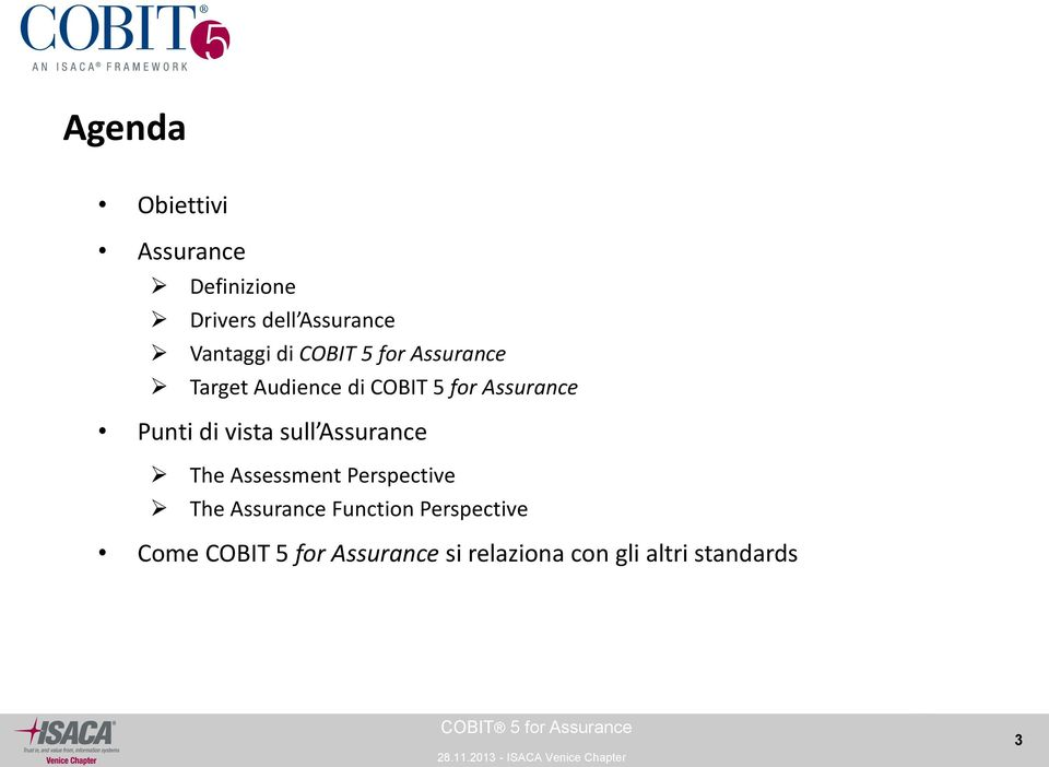 vista sull Assurance The Assessment Perspective The Assurance Function