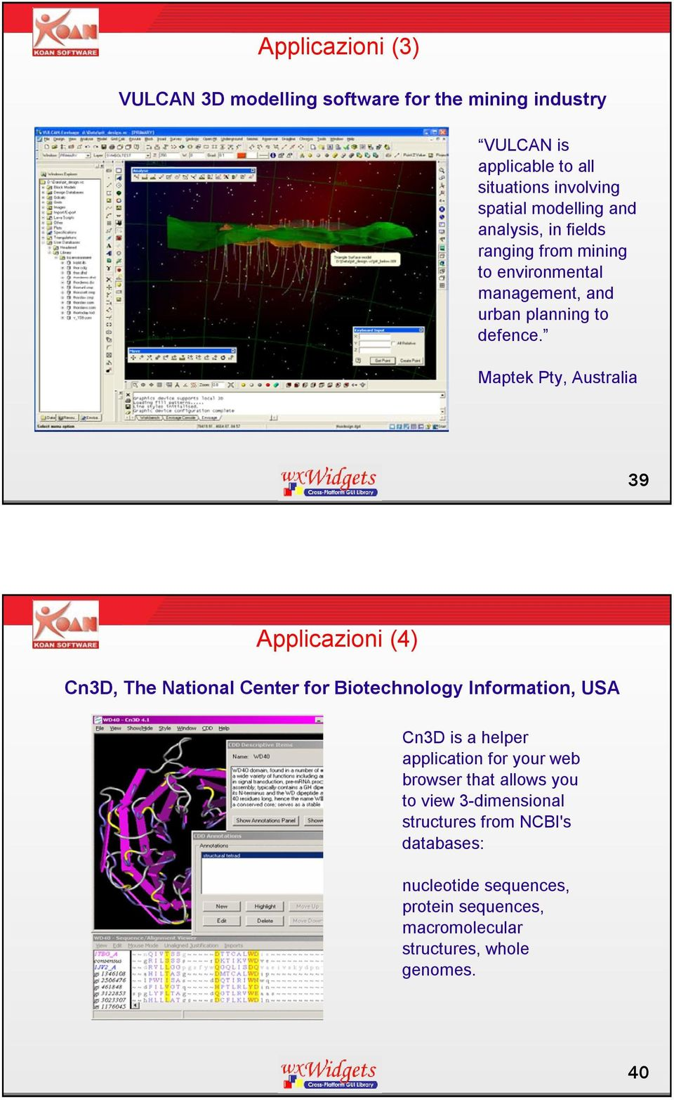 Maptek Pty, Australia 39 Applicazioni (4) Cn3D, The National Center for Biotechnology Information, USA Cn3D is a helper application for
