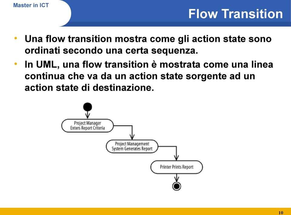In UML, una flow transition è mostrata come una linea