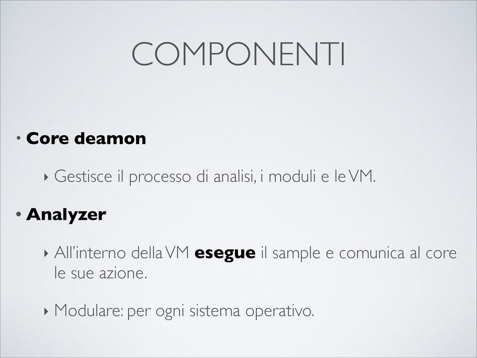 Analyzer All interno della VM esegue il sample