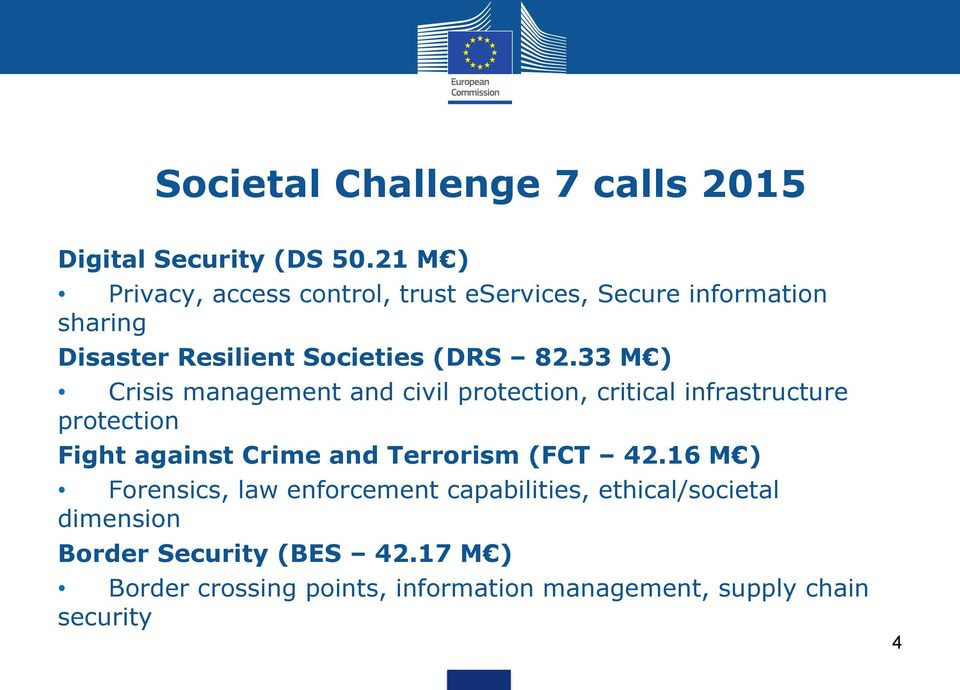 33 M ) Crisis management and civil protection, critical infrastructure protection Fight against Crime and Terrorism