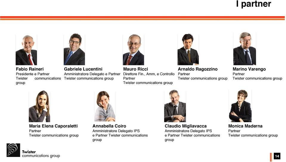 Varengo Partner Twister communications group Maria Elena Caporaletti Annabella Coiro Claudio Migliavacca Monica Maderna Partner Twister communications group